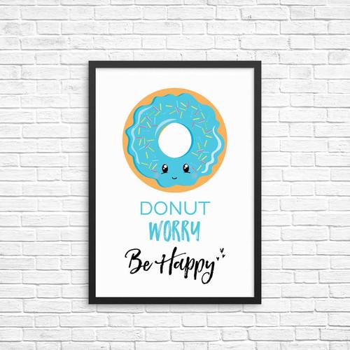Blue Donut Worry Be Happy Wall Decor Print