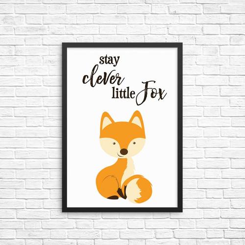 Stay Clever Little Fox Wall Art Print