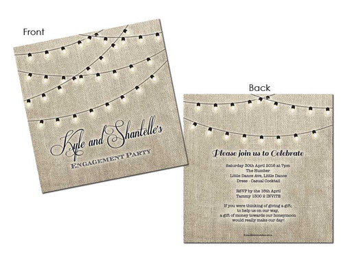 Party Lights Engagement Party Invitations. Printed in Melbourne. For sale online. Buy with AfterPay, PayPal Pay in 4 or Card