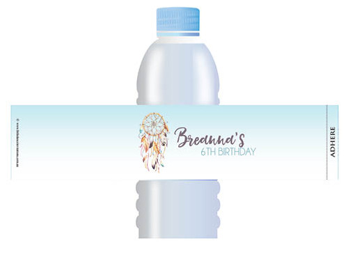 Birthday Party Water Bottle Label - Dreamcatcher