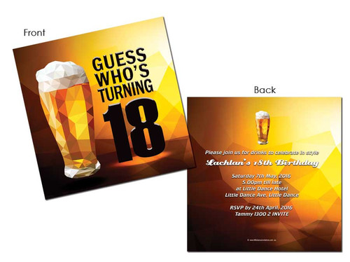 Beer 18th Birthday Invitations