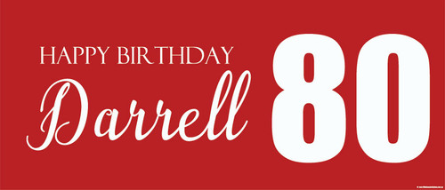 Birthday party banner printed with age and name. This banner is an example of an 80th birthday banner but could be for any age. White on red background. Printed in Australia. Buy online with Afterpay, PayPal or card.