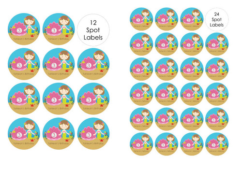 Mermaid Under the Sea birthday party stickers