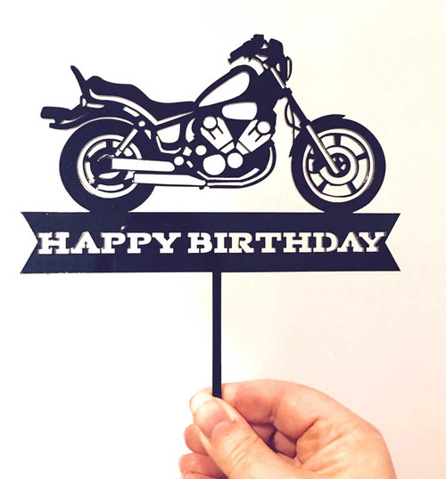 Harley inspired Motorbike or Motorcycle Happy Birthday Cake Topper Decoration. Made in Australia
