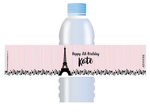 Eiffel Tower Pink French Custom Water bottle labels