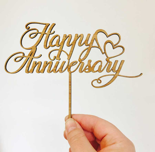 Anniversary Wedding Cake Bamboo Topper
