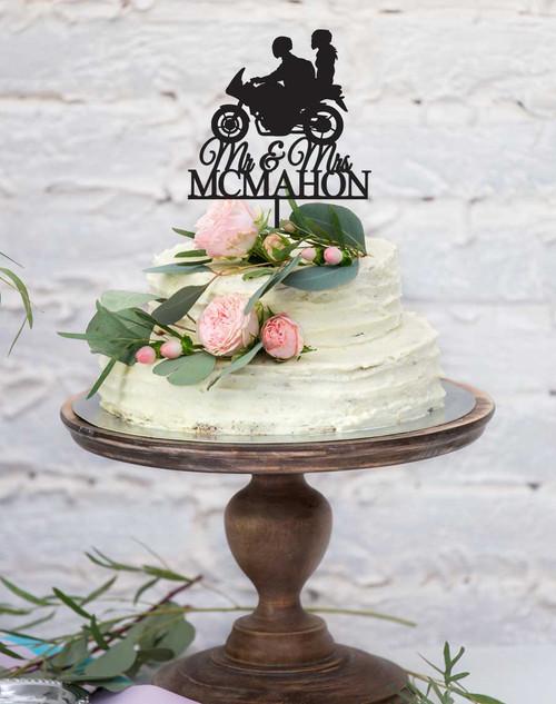 Wedding Motorbike Cake Topper - Motorcycle or Motorcyclist wedding or engagement cake decoration