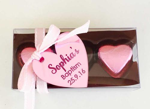 Mirror Engraved Heart gift tags - Love Heart Bonbonniere Tags