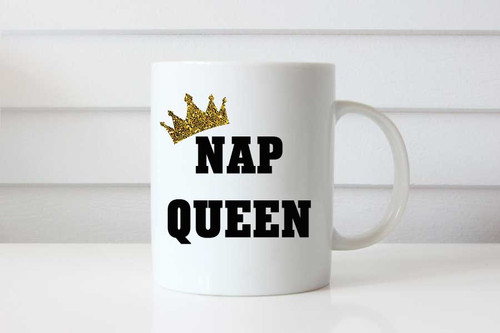 Funny Gift Coffee Mug - Nap Queen - Coffee Cup Birthday or Christmas Present