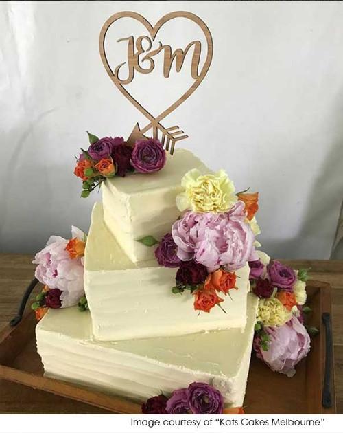 Initials inside heart wedding bamboo cake topper - Laser cut wooden wedding or engagement cake decoration
