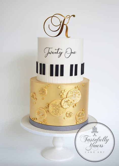 Letter K Gold Mirror Initial, Cake by Tastefully Yours Cake Art