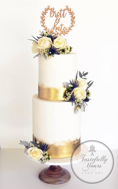 Tastefully Yours Wedding Cake with Wedding Wreath topper - Wedding cake decoration
