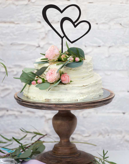 Double Hearts Cake Topper - 2 hearts entwined - how romantic!
