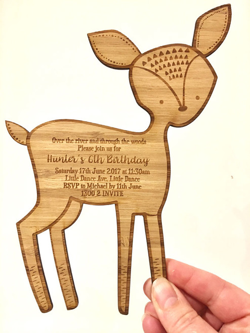 Woodlands Party Baby deer wooden Invitation