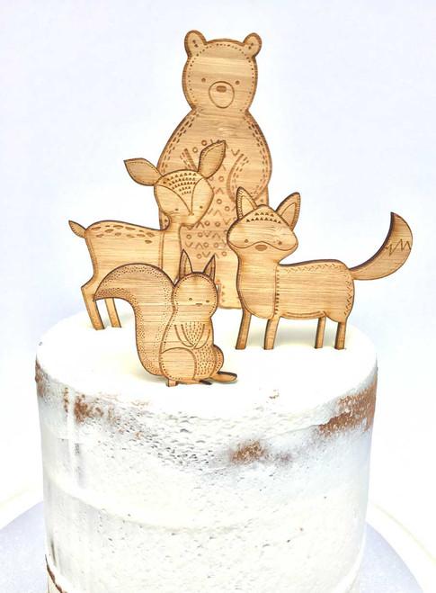 Woodlands animals themed Cake decorator kit - Laser cut cake decorations made in Australia