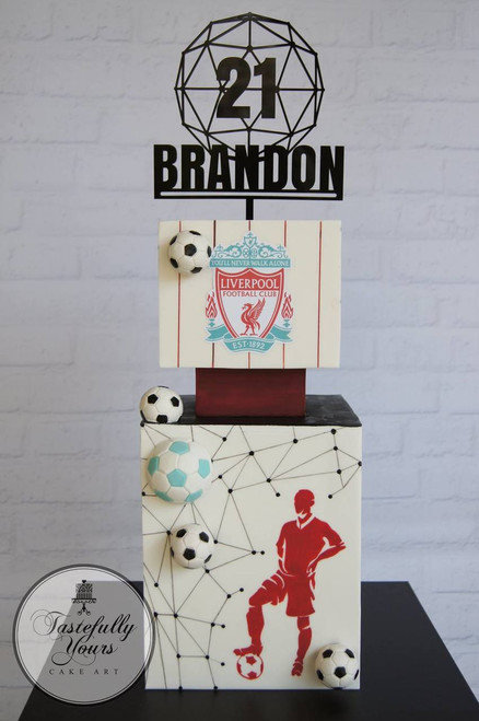 Soccer fan geometric cake with personalised cake topper