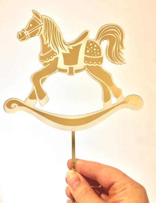 Engraved Rocking Horse Cake Topper
