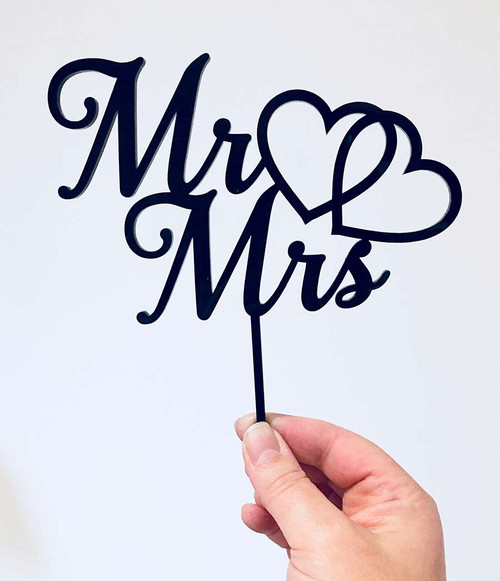 #3 Mr & Mrs Two Hearts Entwined Mr & Mrs Wedding Cake Topper - wedding and engagement cake decoration