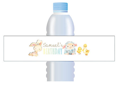 Farm Animals Custom Water bottle labels