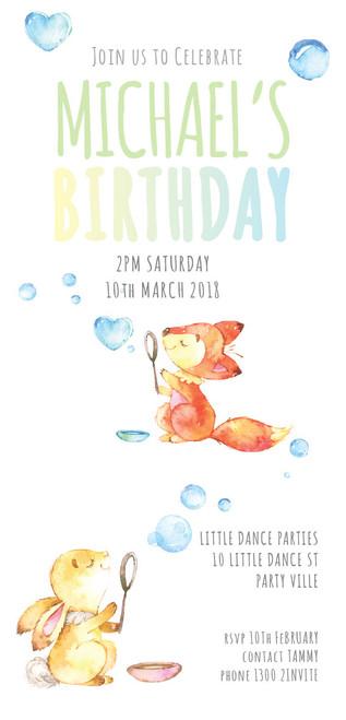 Fox & Bunny Party Invitations