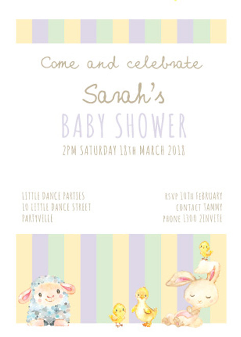 Baby shower invitations with a Baby Animals theme on a pretty striped background. Printed in Australia