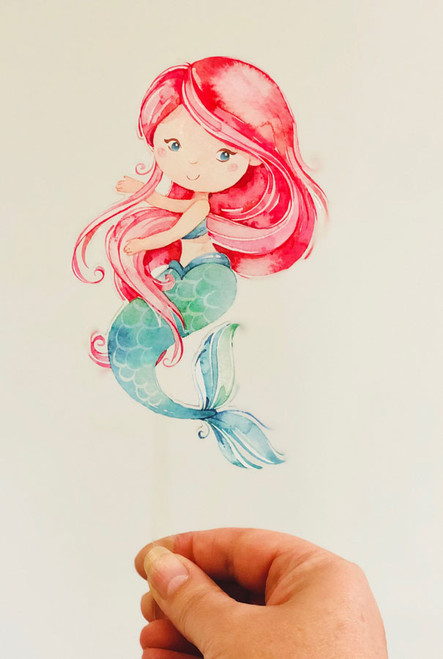 Redhead Mermaid Acrylic cake topper