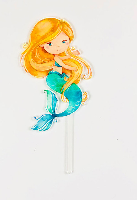 Blonde Mermaid Acrylic cake topper