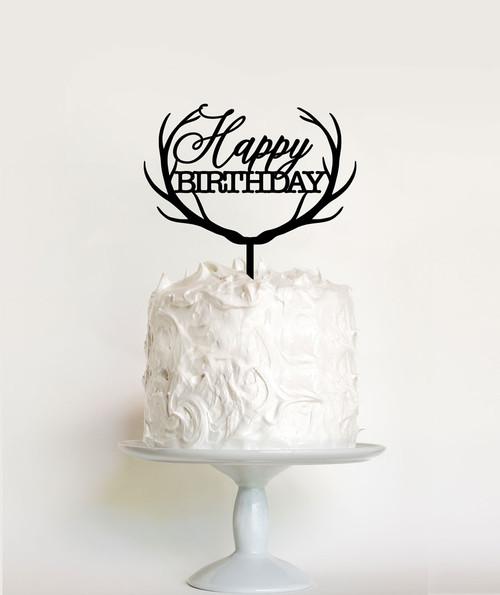 Antlers Happy Birthday Cake Topper Decoration