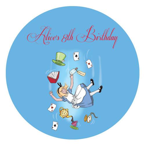 Alice in Wonderland Round party stickers