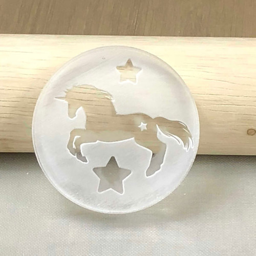 Unicorn cookie and fondant stamp