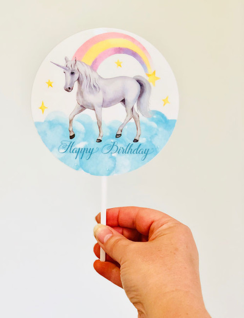 Unicorn with Rainbow printed acrylic cake topper - Rainbow Unicorn birthday cake decoration. Laser cut printed acrylic. Made in Australia