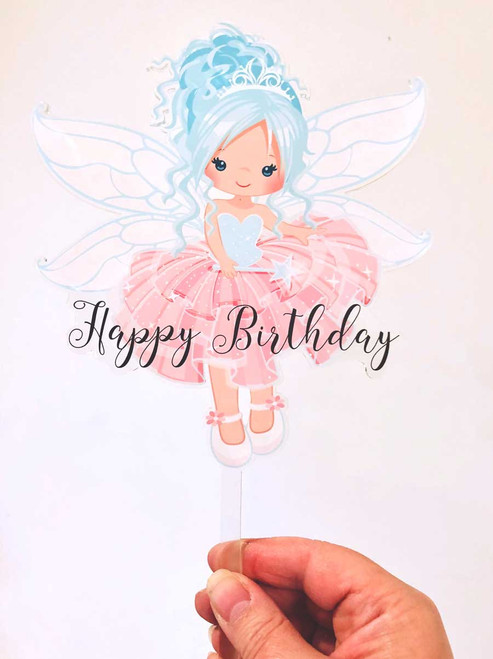 Blue Hair Fairy birthday cake topper or birthday cake decoration. Made from acrylic. Laser cut in Melbourne Australia