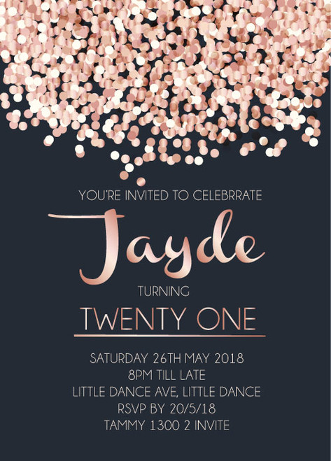 Rose Gold Pink Confetti look birthday invitations or wedding invitations. Personalised and printed in Australia