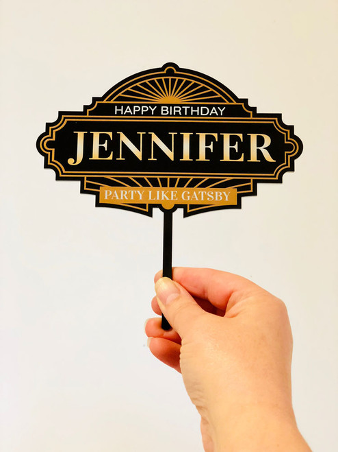 Personalised 1920's Gatsby Cake Topper - 1920s Gatsby Theme Birthday Cake Decoration - Made in Australia