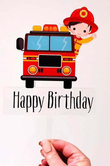 Fireman in Fire Truck Birthday Cake Topper or Fireman birthday cake decoration. Made from printed Acrylic. Laser cut in Melbourne Australia