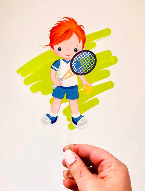 Gorgeous boys tennis cake topper - tennis birthday cake decoration. Made in Australia. Buy online with AfterPay, PayPal or Card