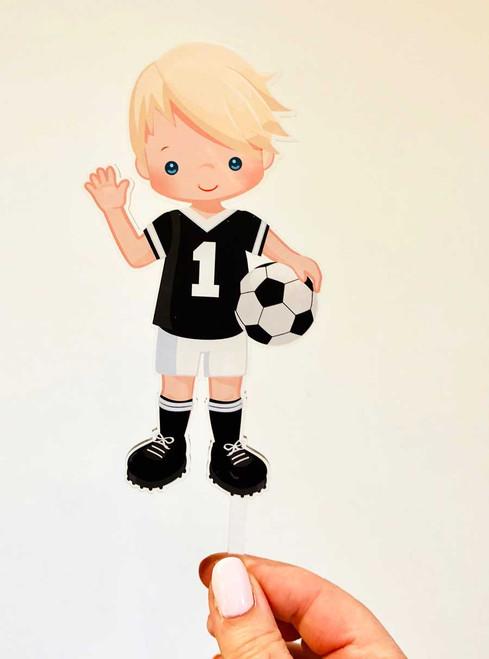 Soccer themed sports cake topper