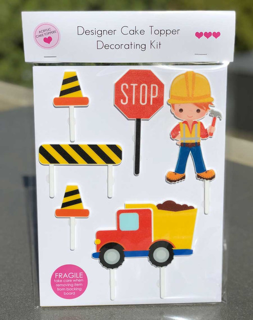 Construction, Building themed cake decorating kit - construction or building theme birthday cake decorations - laser cut in Melbourne Australia