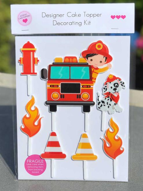 Fireman, Firefighter DIY cake decorating kit - Fire Truck Birthday Cake Decoration Kit