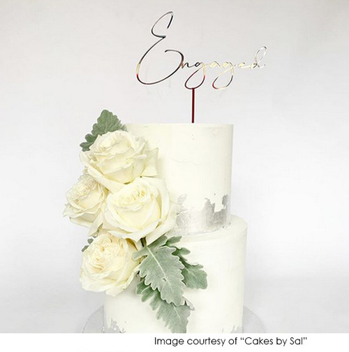 Flowing script Engagement cake topper made in Australia