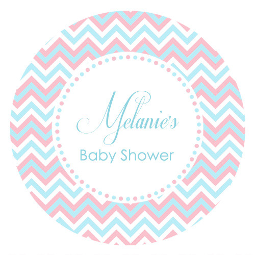 Personalised baby shower stickers with a pink and blue chevron outer. Printed in Melbourne Australia. Buy with Afterpay