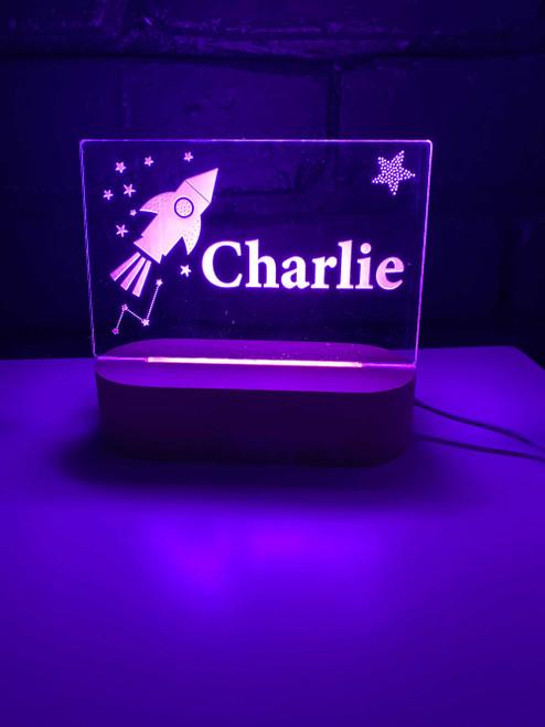 Custom Name Space Rocket Night Light