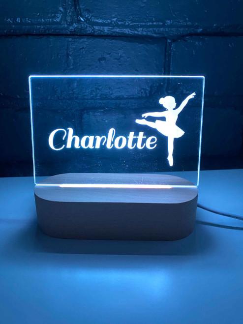 Personalised Ballerina Nursery Light, Engraved kids night light. Made in Australia. Ideal birthday or Christmas Gift.