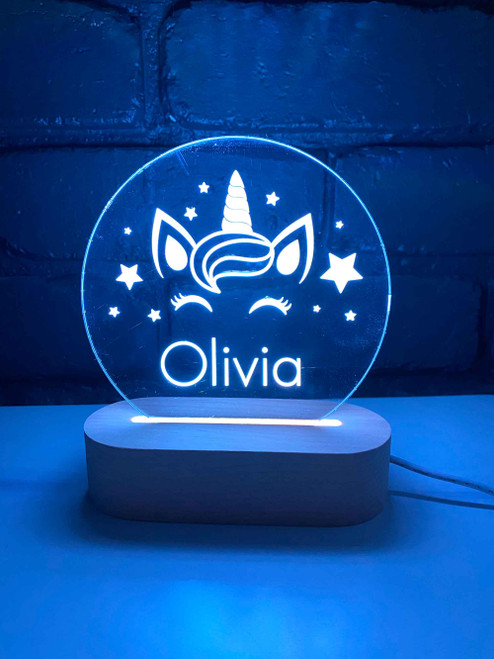 Personalised Unicorn with Stars Nursery Light, Engraved kids night light. Made in Australia. Ideal birthday or Christmas Gift.