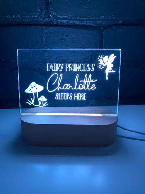 Personalised Fairy Princess Engraved kids night light. Made in Australia. Ideal birthday or Christmas Gift.