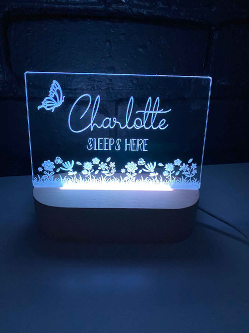 Personalised Butterfly Garden Nursery Light, Engraved kids night light. Made in Australia. Ideal birthday or Christmas Gift.