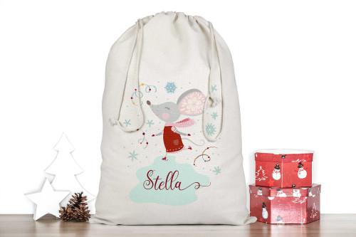 Skating Christmas Mouse Personalised Santa Sack