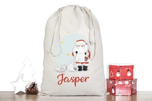 Personalised Christmas Stocking Sack - Santa With Naughty or Nice List
