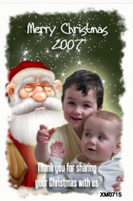 Santa Claus themed family photo Christmas cards