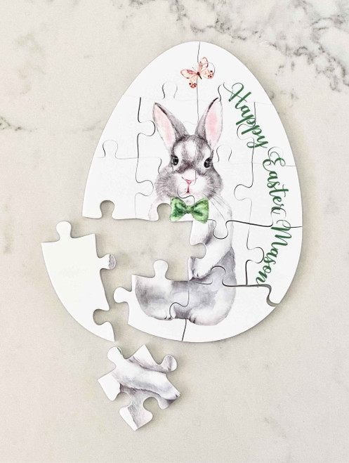 White acrylic boy easter bunny personalised puzzle
